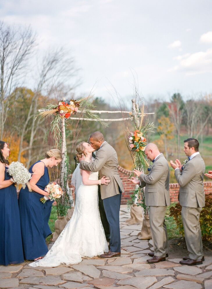 Rustic Fall Ceremony First Kiss