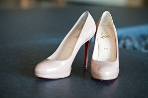Nude Christian Louboutin New Simple Bridal Shoes