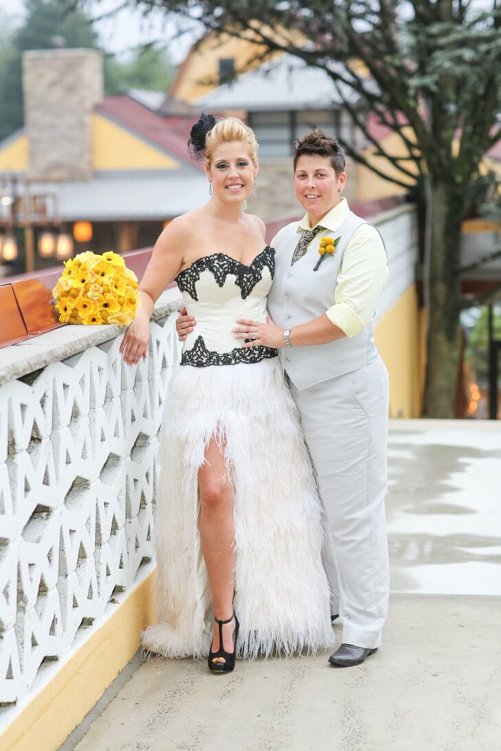 """""""It's an absolutely beautiful gown,"""" Tara recalls of her black-and-white dress. """"It had a sweetheart neckline and an all-feather skirt, with a high slit on the right side."""" Stacey wore light gray linen pants with a matching vest and a light yellow button-down shirt."""
