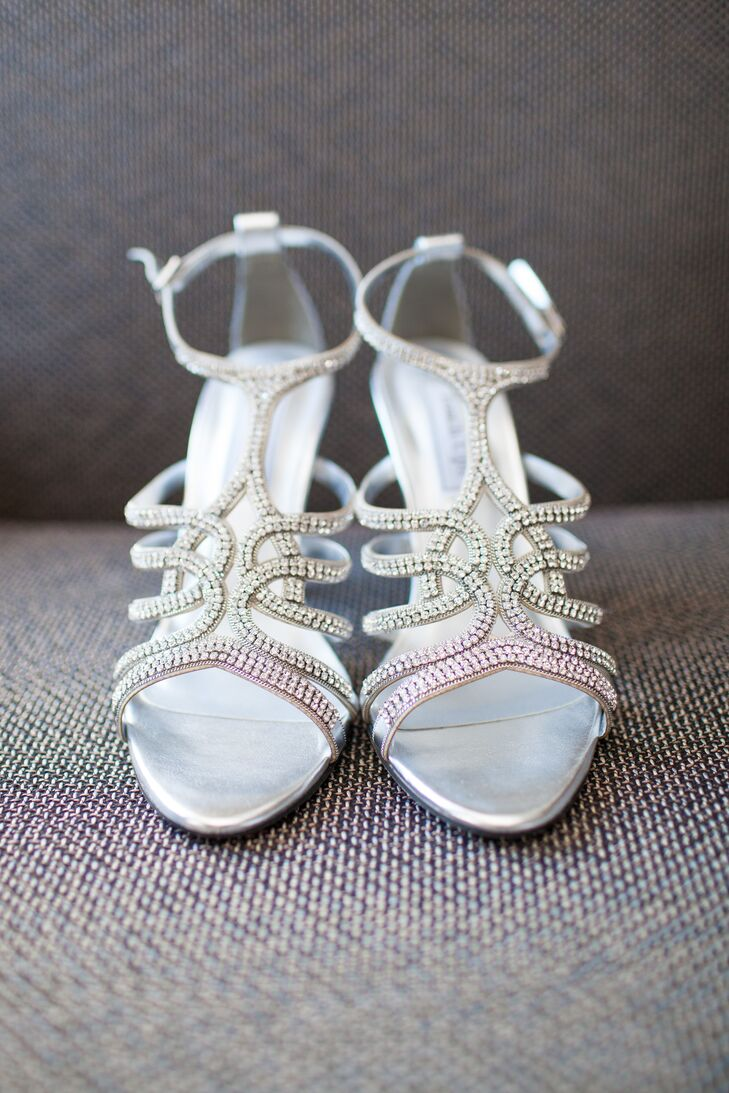 Marni wore silver studded sandal heels, adding a little bit of glam to her bridal style.