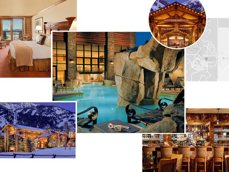 photo collage of Snake River Lodge and Spa in Jackson Hole, Wyoming