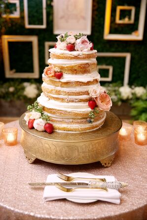 Simple Naked Wedding Cake with Berries