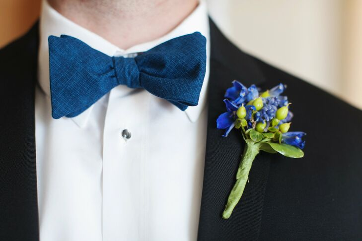 Phil's boutonniere was filled with a bright mix of blue delphiniums, cornflower and green hypernicum berries.
