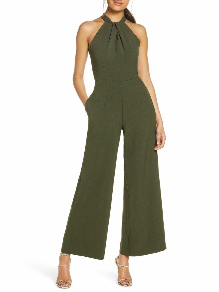 Julia Jordan olive green jumpsuit with halter neckline