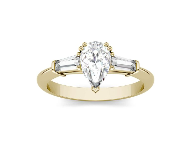 Charles & Colvard pear colorless three stone mossanite engagement ring in 14K yellow gold