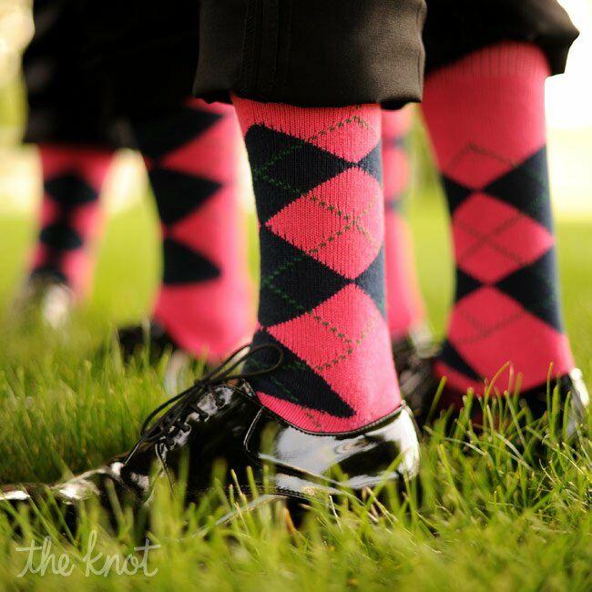 Pink and Black Plaid Socks