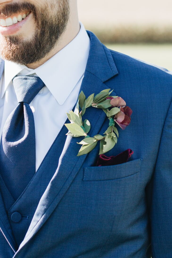 Greenery Wreath Boutonniere and Burgundy Pocket Square