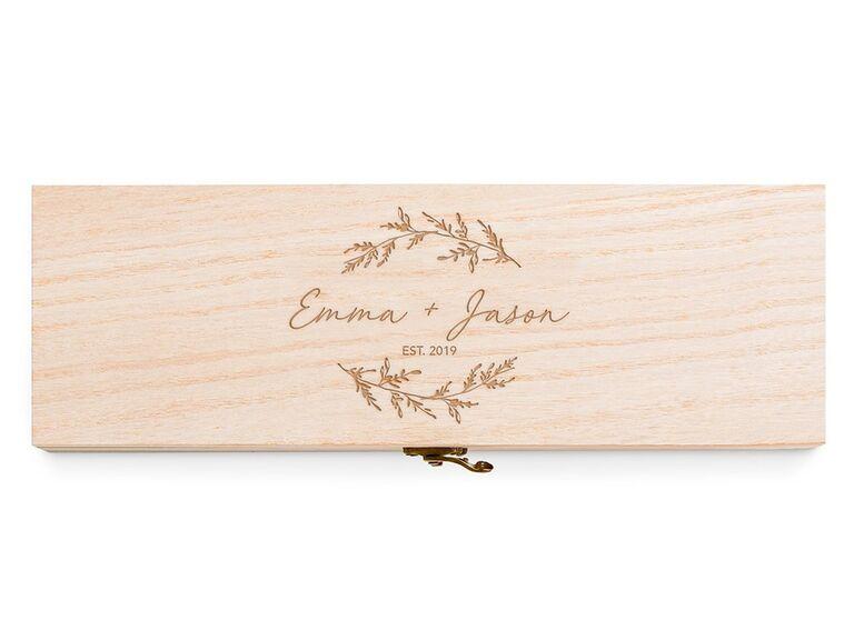 Wood wine box first anniversary gift