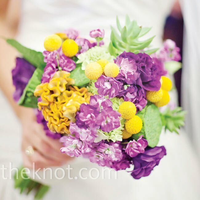White nautical rope was tied around the bouquet, which included succulents from the couple's garden, lots of purple blooms and yellow craspedia.