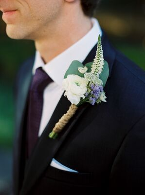 White and Lavender Boutonniere With Ranunculus and Veronica
