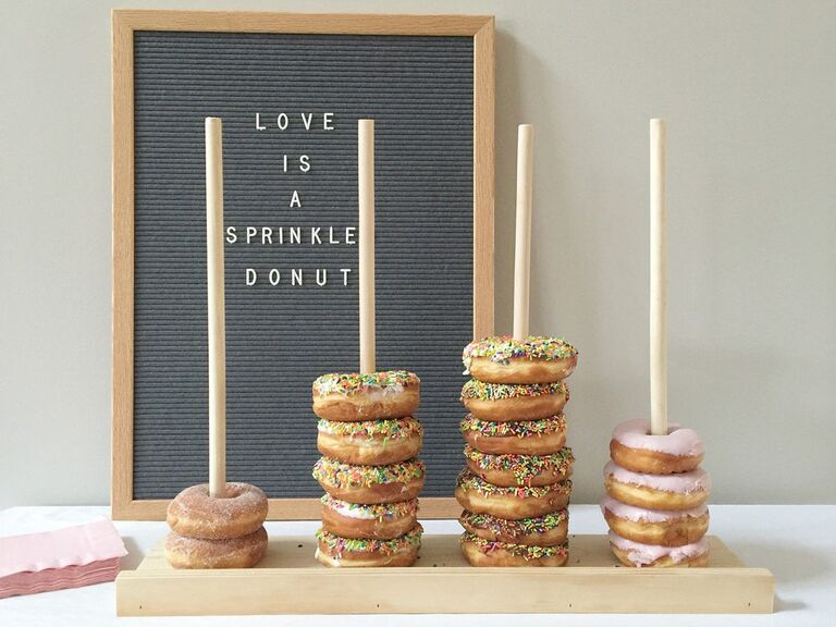 Cute doughnut stands for a bridal shower or bachelorette party
