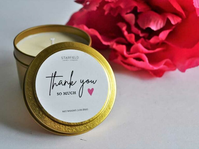 Custom thank-you candle