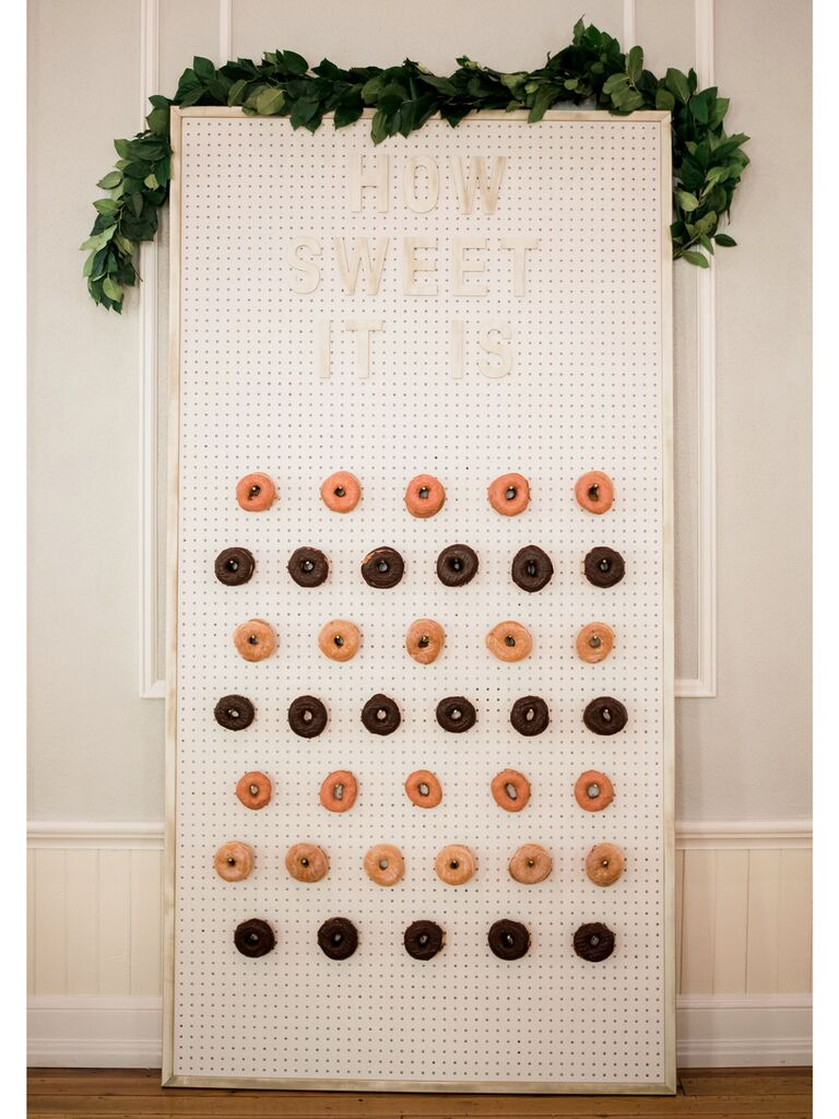 Creative engagement party idea donut wall