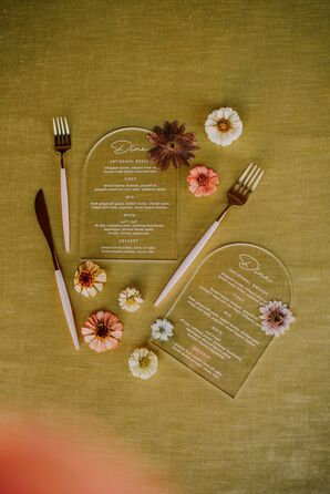 Modern Acrylic Menus for Boho Wedding at Dos Pueblos Orchid Farm in Goleta, California