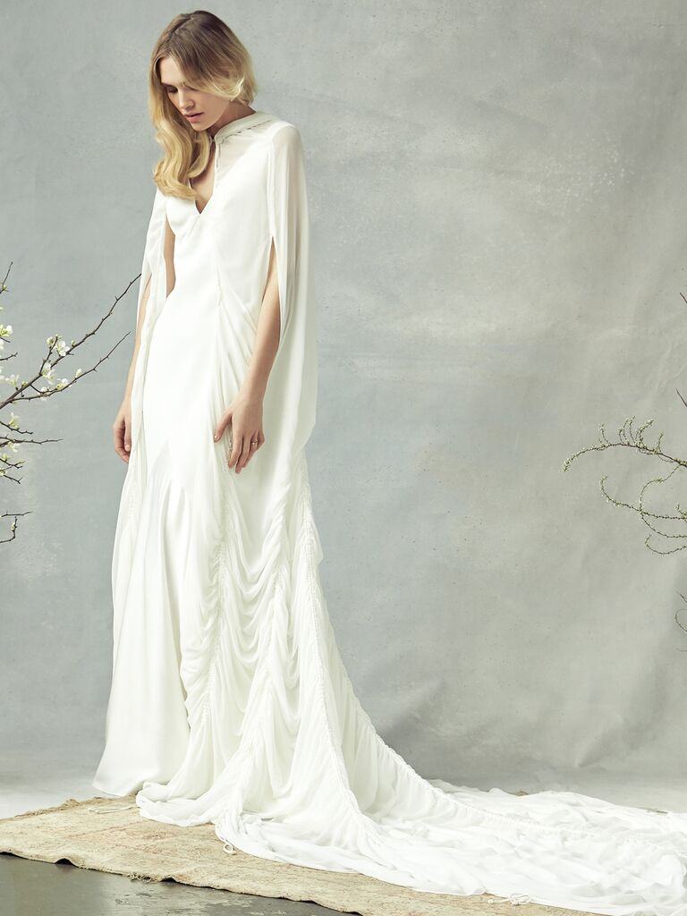 Savannah Miller Spring 2020 Bridal Collection draped wedding dress with cape detail