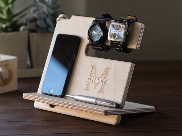Personalized wooden docking station 30th anniversary gift
