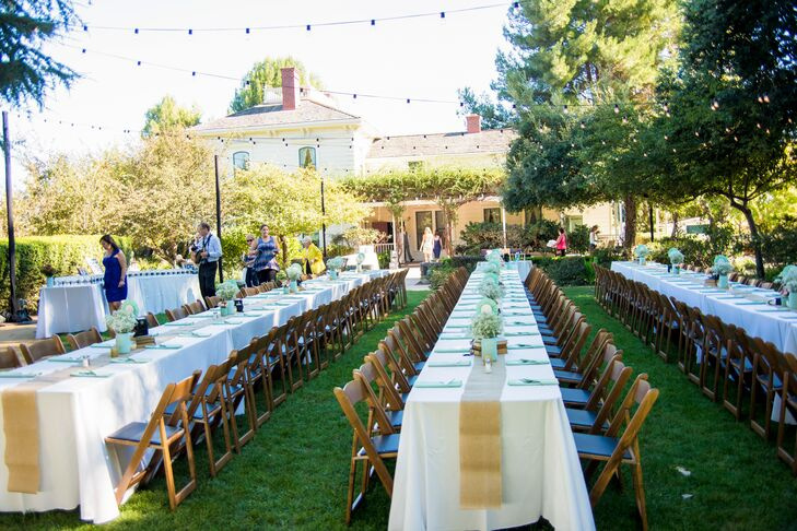 Reception Tables at Rengstorff House Gardens