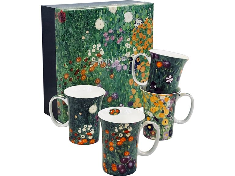 Stunning gift box with four coffee mugs inspired by artwork of Klimt