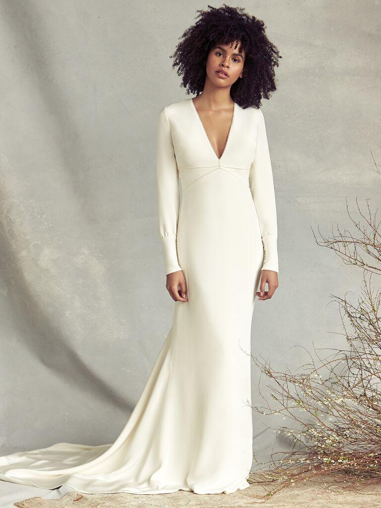 Savannah Miller Spring 2020 Bridal Collection V-neck sheath wedding dress with long sleeves