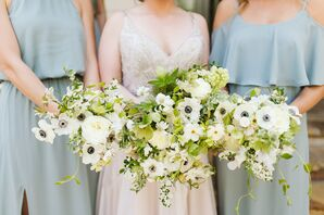 Natural Bouquet of Anemones and Greenery