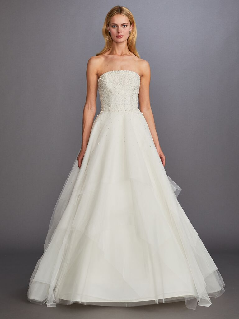 Allison Webb Fall 2019 Bridal Collection strapless embellished A-line wedding dress