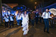 "Caroline Sobiesuo and Andrew Matina may be based in Brooklyn, New York, but a destination wedding in The Big Easy was a must since they love the, ""Fre"