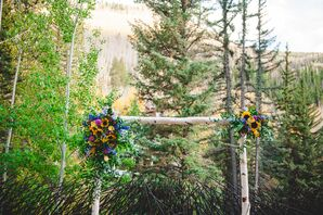 Aspen Wedding Arbor with Wildflower Decor