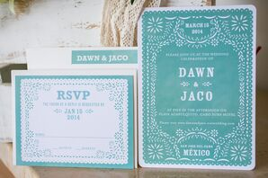 Turquoise Mexican-Inspired Wedding Invitation