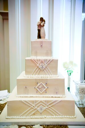 Ivory Wedding Cake With Geometric Piping