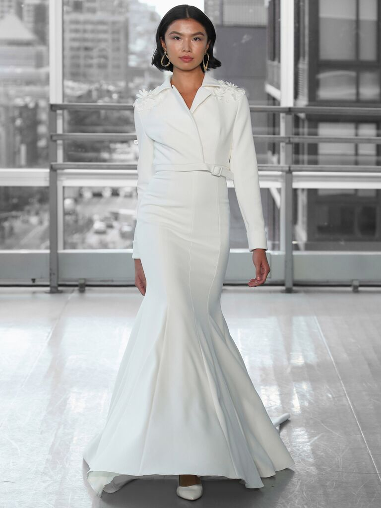 Fit-and-Flare Wedding Dress with Long Sleeves