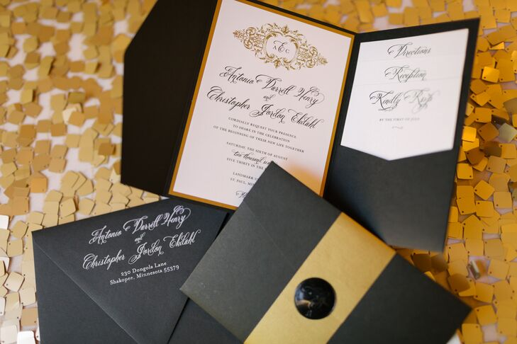 Traditional Black, White and Gold Wedding Invitations
