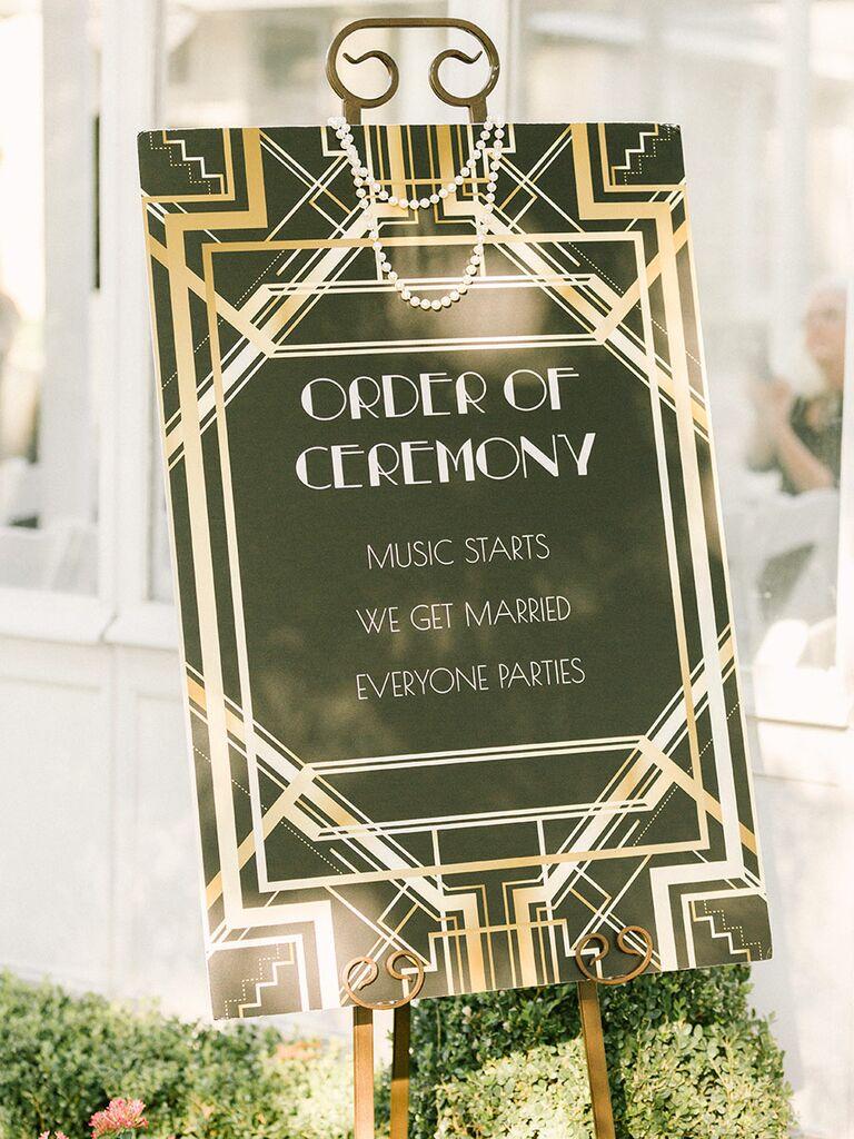 Art Deco themed ceremony program