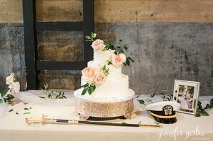 Combed Buttercream Cake with Pink Garden Roses