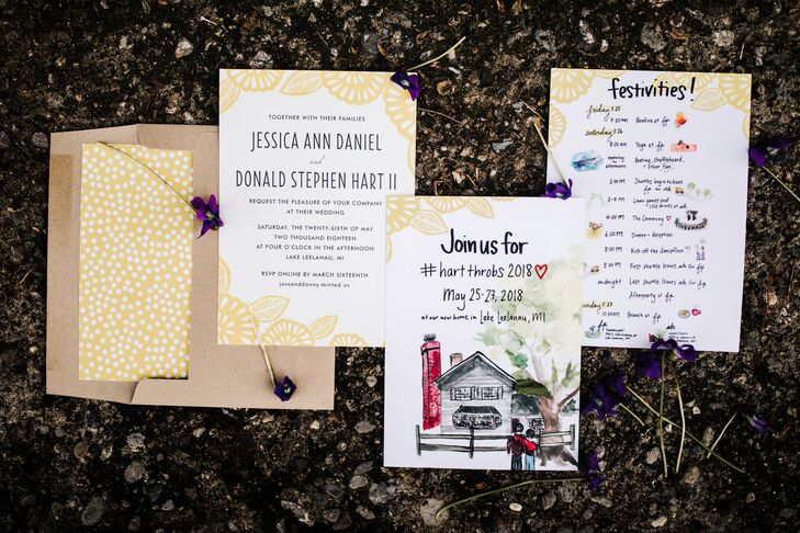 Casual Wedding Invitations with Watercolor and Typography