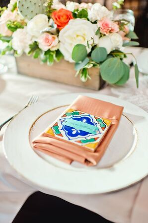 Vibrant Spanish Tile Place Card