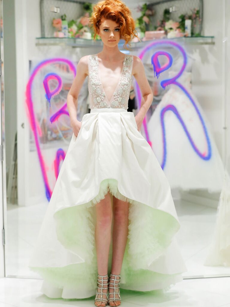 Randi Rahm Fall 2019 Bridal Fashion Week Collection deep V-neck beaded bodice and high-low skirt with mint green tulle underskirt