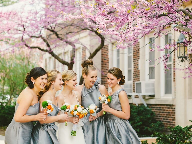 Preppy bridesmaids looks at spring wedding