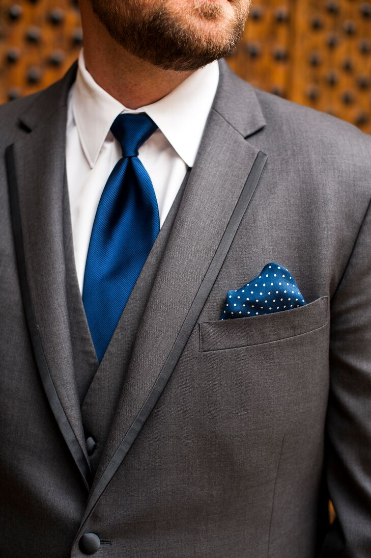 ed4c6d9d17bc6 Gray Tuxedo With Navy Tie and Pocket Square