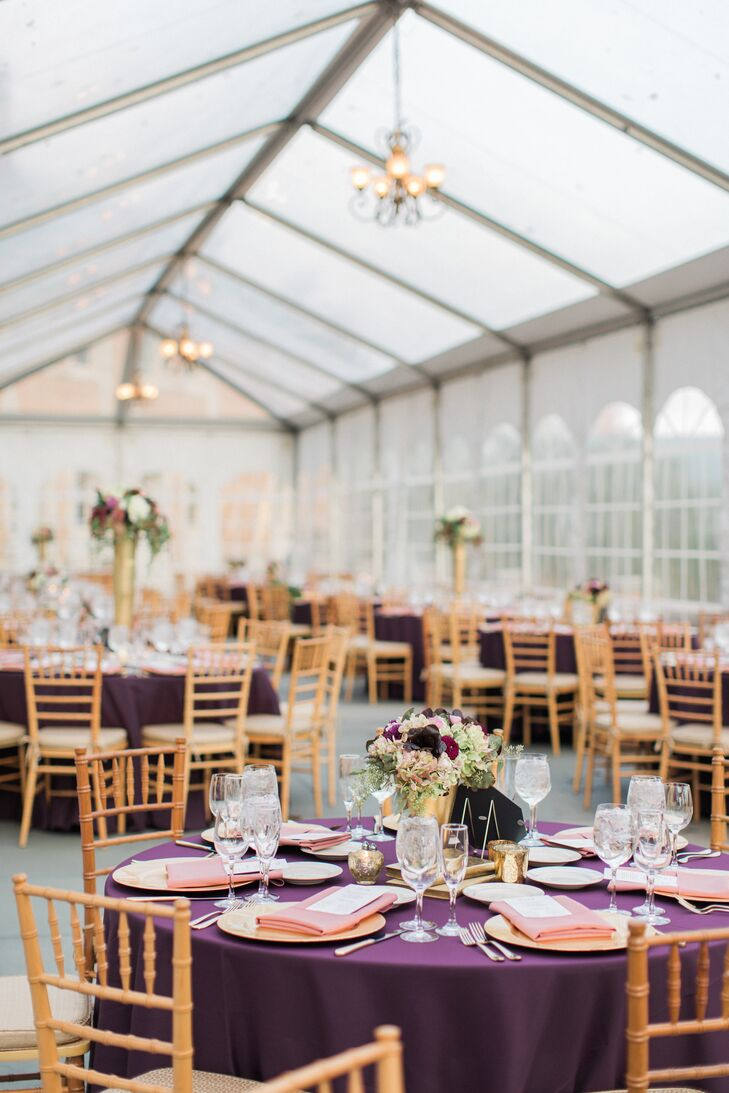 Elegant Purple and Gold Reception Tables