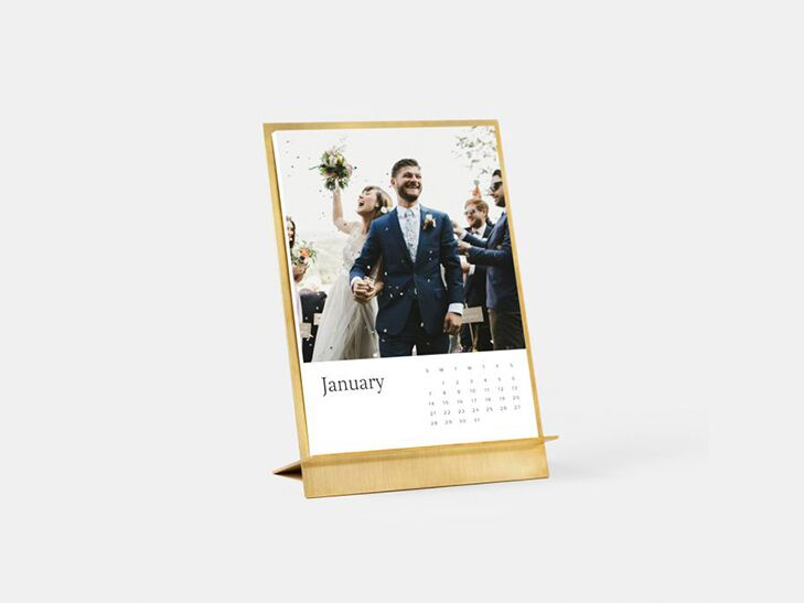 A calendar showing a personalized wedding photo