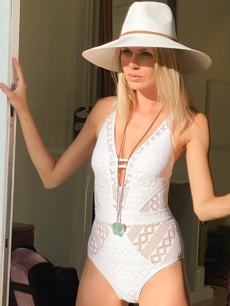 Crochet lace white bridal swimsuit