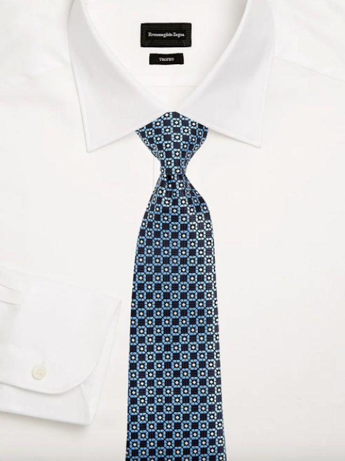 Navy blue medallion print silk tie