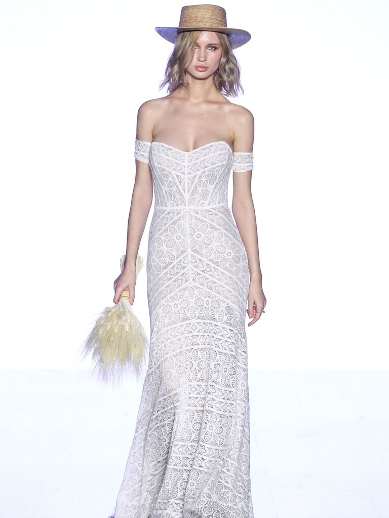 Willowby by Watters Fall 2019 Bridal Collection off-the-shoulder lace wedding dress