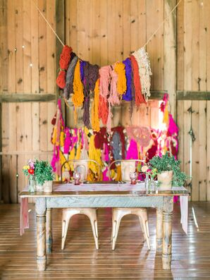 Colorful DIY Yarn Display Backdrop