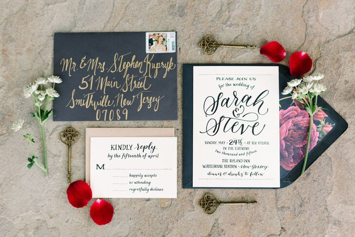 Sarah and Steve's invitation suite was a little DIY and completely chic. She found each black and ecru piece online though Ashley Buzzy Lettering and Press. She mirrored its classic calligraphy with each handwritten gold address, then personally lined the matching black envelopes. Its raspberry peony print even matched the flowers in her bouquet.