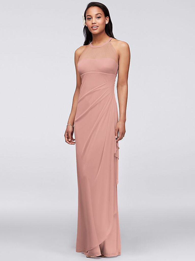 Mesh modern dusty rose bridesmaid dress