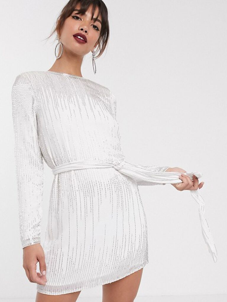 Sequin white engagement party dress