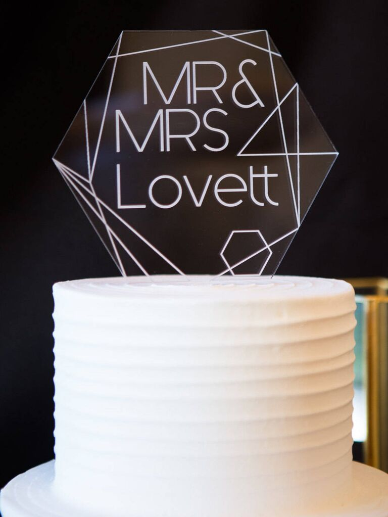 Geometric unique wedding cake topper