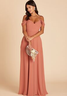 Birdy Grey Devin Convertible Dress in Terracotta V-Neck Bridesmaid Dress