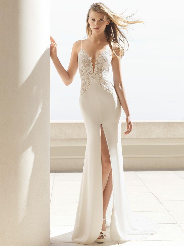 Rosa Clará Fall 2018 wedding dresses lace bodice with high slit